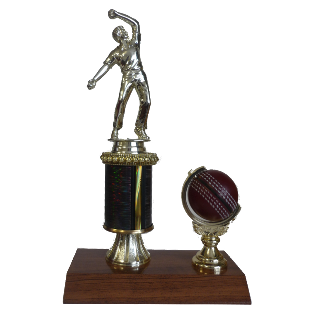 Cricket Spinning Ball & Figurine Trophy