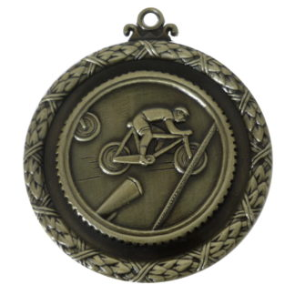 Bike Sport Medals, Gold Wreath Cycling Medal