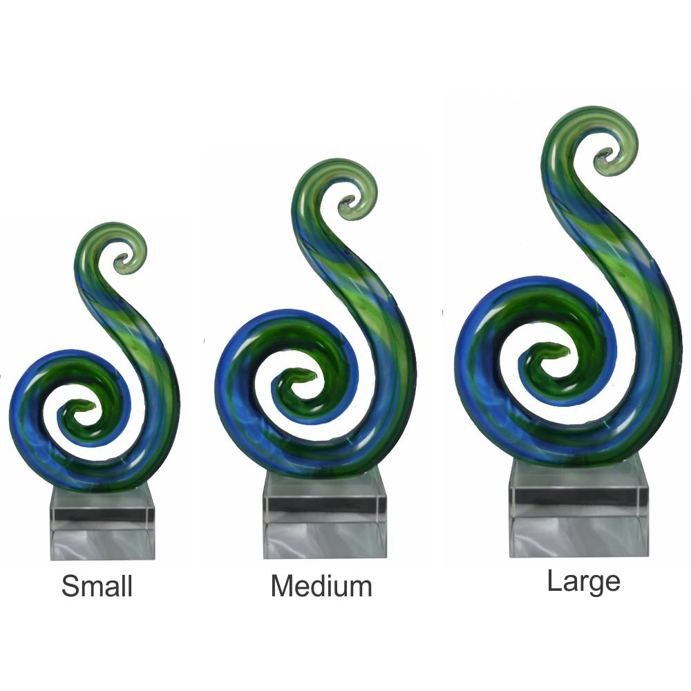 Koru Double Spiral Crystal Award