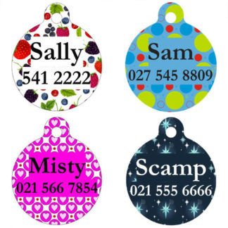 Round Designer Pet Tags
