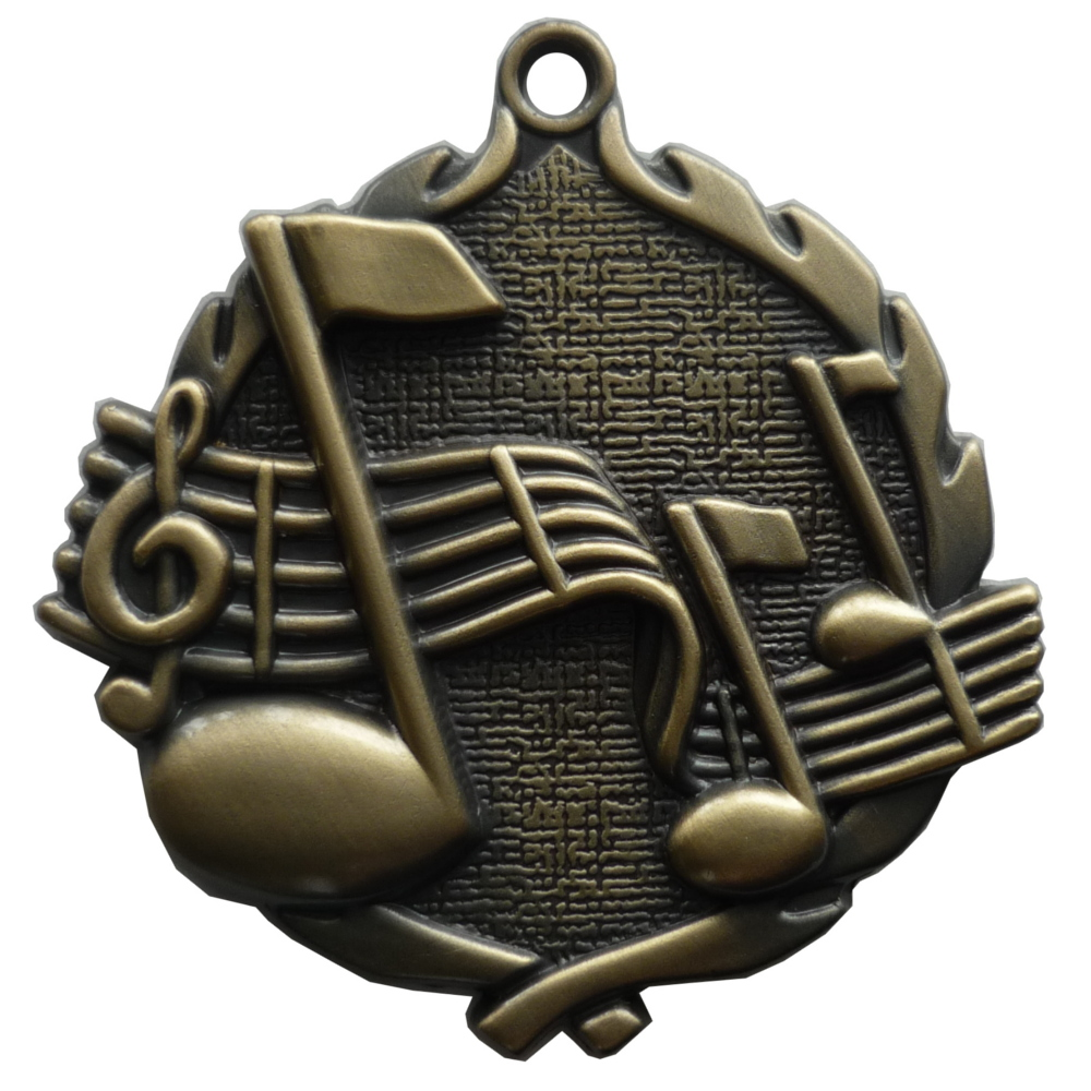 3D Gold Music Medal