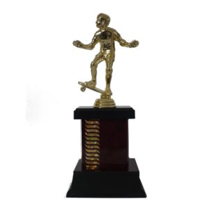 Wave Pattern Skateboarder Trophy