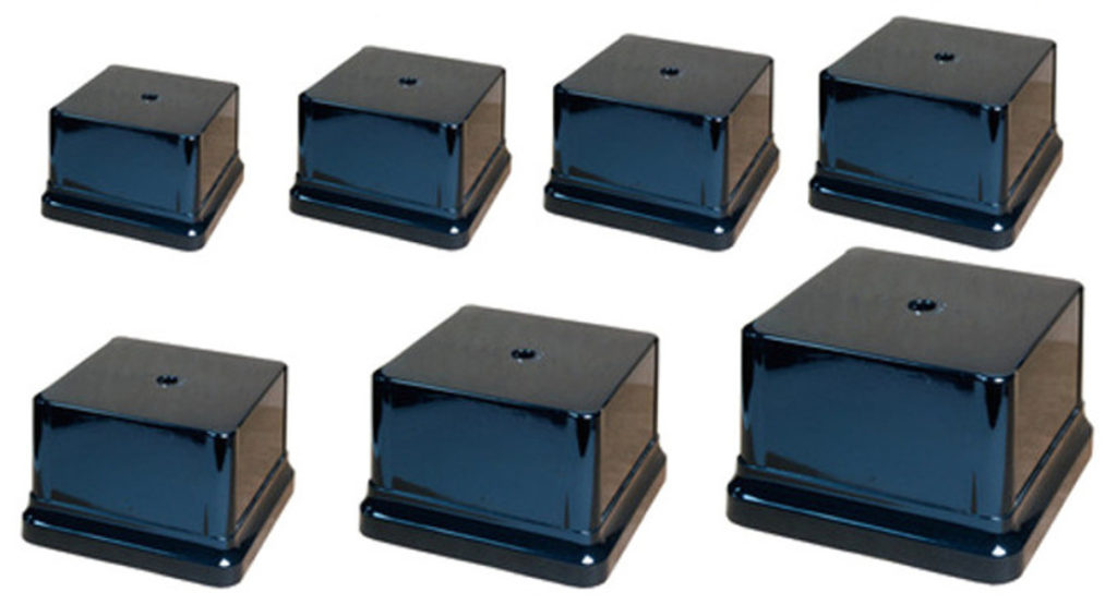 Black weighted square plastic bases