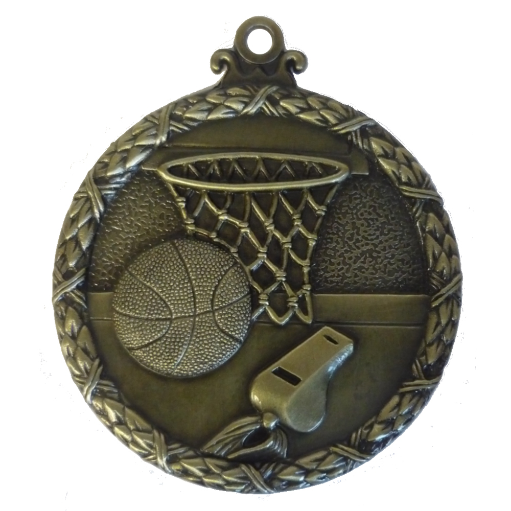 Gold Wreath Basketball Medal