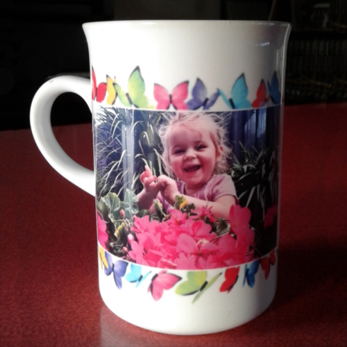 Coffee Mug with Little girl and border