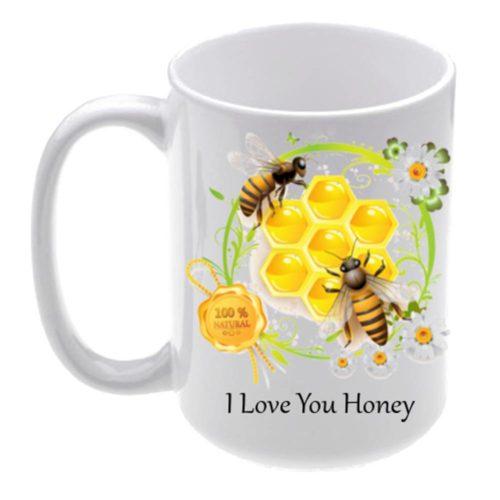 Personalised Coffee Mug with Honey Bee Design