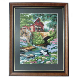 Framed Waterwheel Needlepoint